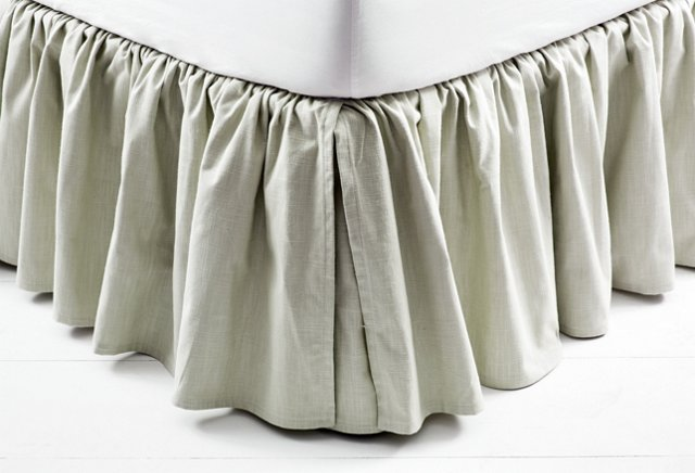 Linen Bed Skirt, Gray