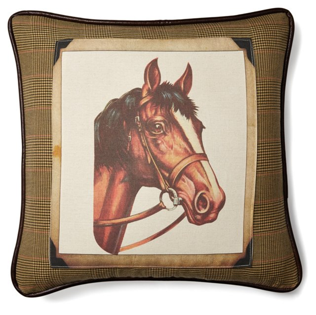 Horse 20x20 Cotton Pillow, Multi