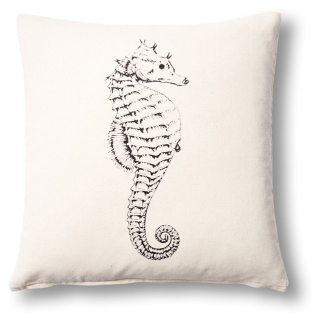 Seahorse 20x20 Cotton Pillow, Natural