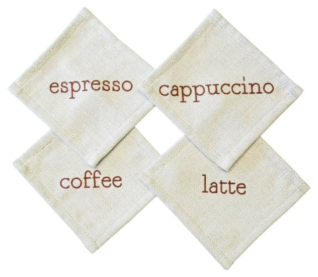 Asst of 4 Coffee Cocktail Napkins