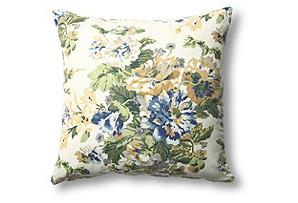 Floral 20x20 Cotton Pillow, Blue/Green*