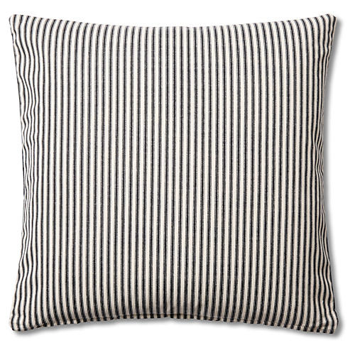 Ticking 20x20 Cotton Pillow, Black