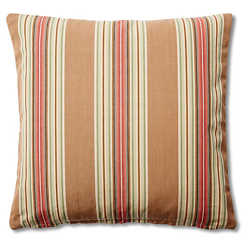 Striped 20x20 Cotton Pillow, Khaki