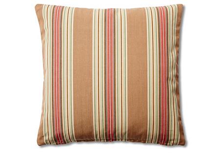 Striped 20x20 Cotton Pillow, Khaki