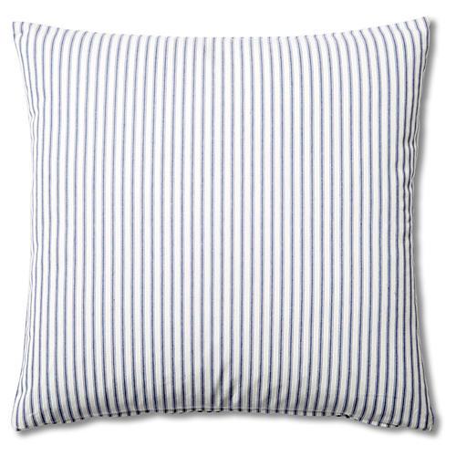 Ticking 20x20 Cotton Pillow, Blue