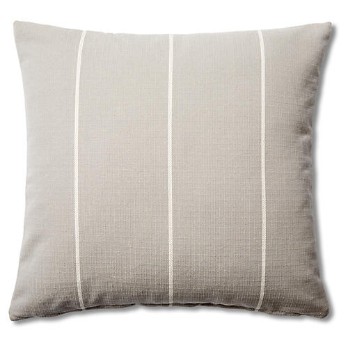 Striped 20x20 Cotton Pillow, Gray