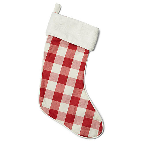 "21"" Buffalo Check Stocking, Red/White"
