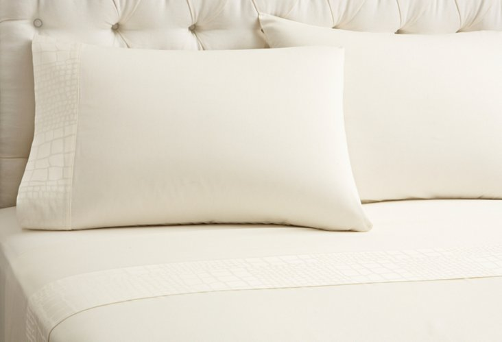 Alli Bordo King Fitted Bedset, Ivory