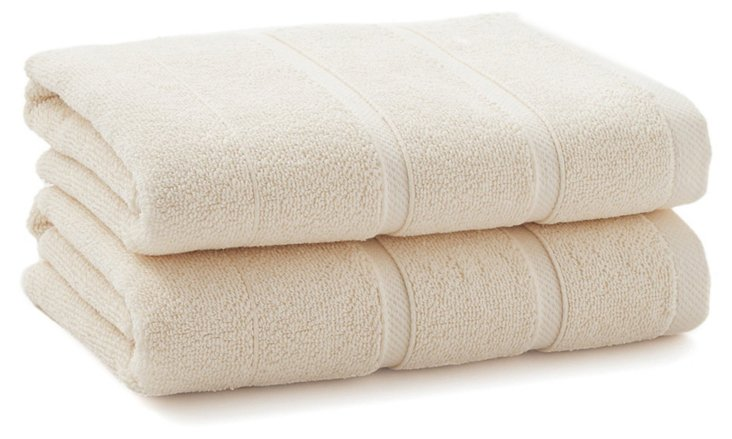 S/2 Lanes Hand Towels, Cream