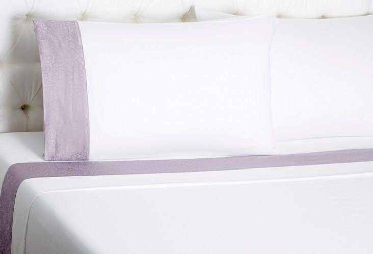 Queen Ludovico Bed Set, White/Lilac