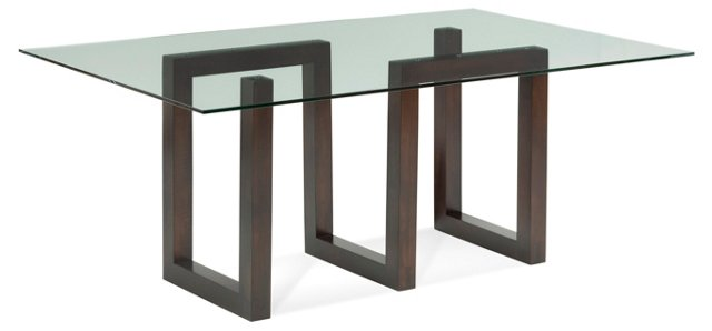 """Serpent 72"""" Dining Table, Java/Glass"""