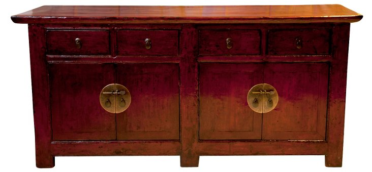 Four Drawer Shanxi Sideboard, Red