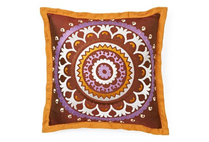 Embroidered Suzani 20x20 Pillow, Multi