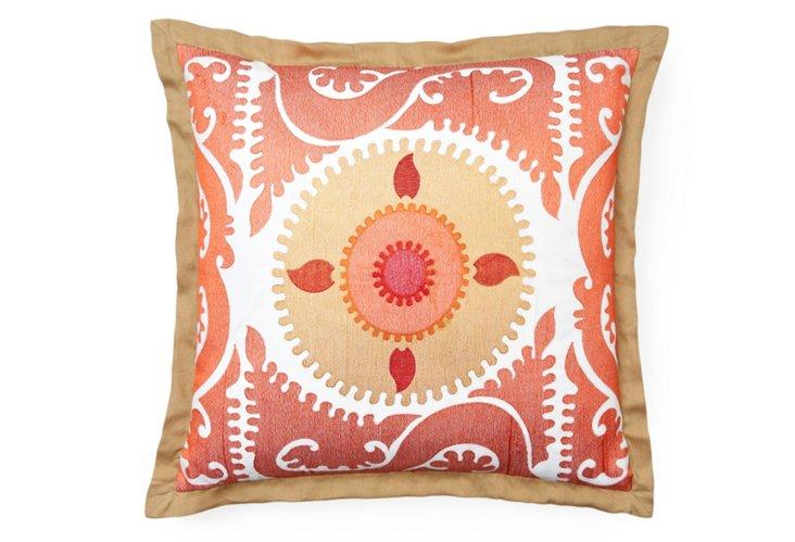 Embroidered Suzani 20x20 Pillow, Peach
