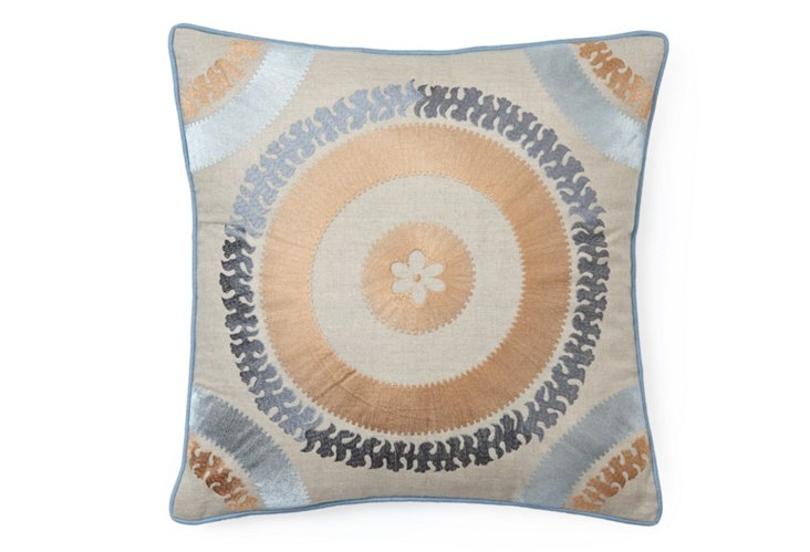Medallion 20x20 Embroidered Pillow, Gold