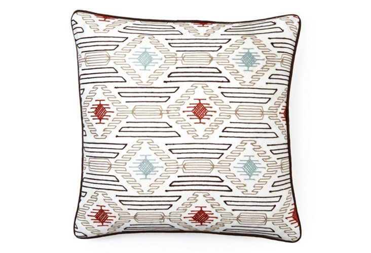 Embroidered Diamond 20x20 Pillow, Gray