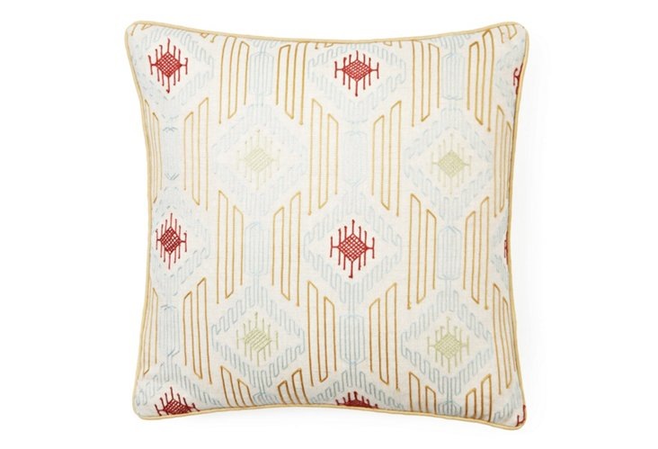 Geometric 20x20 Embroidered Pillow, Gold