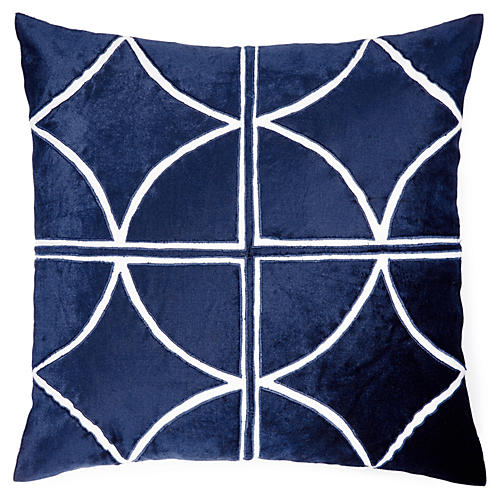 Drant 18x18 Velvet Pillow, Blue