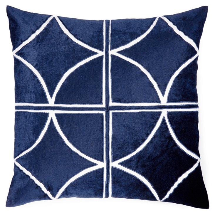 Drant 18x18 Velvet Pillow, Blue