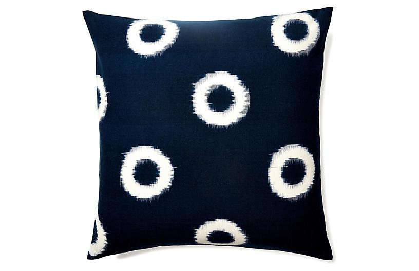 Ikat 20x20 Cotton Pillow, Indigo