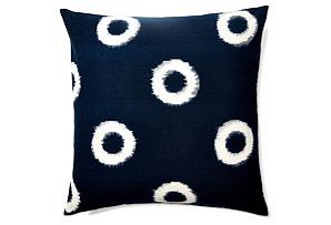 Ikat 20x20 Cotton Pillow, Indigo*