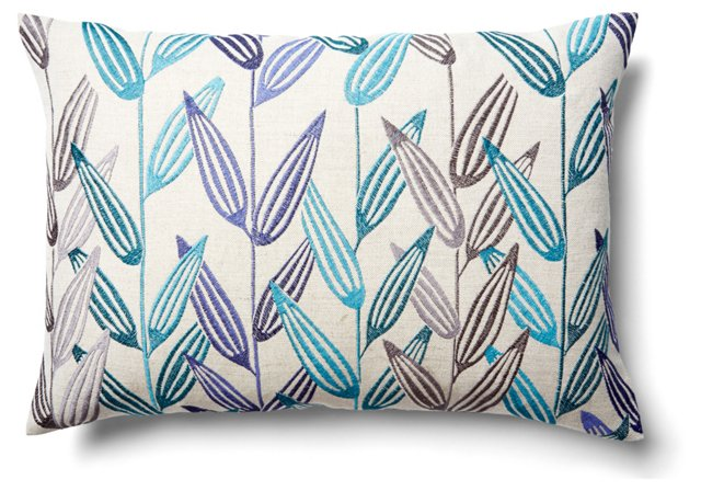 Branches 14x20 Embroidered Pillow, Blue