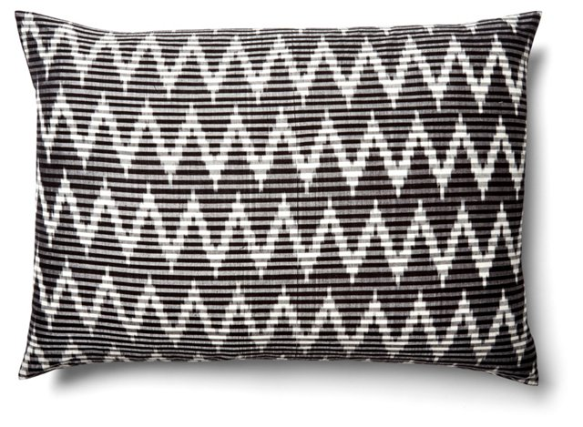 Ikat 14x20 Silk Pillow, Black