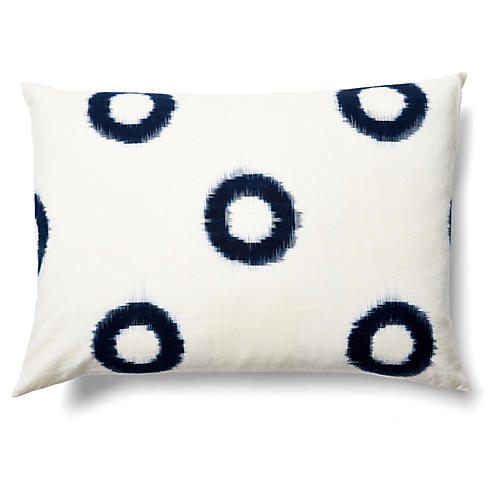 Ikat 14x20 Cotton Pillow, Indigo