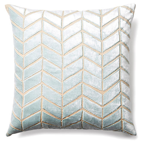 Arrow 20x20 Velvet Pillow, Seafoam