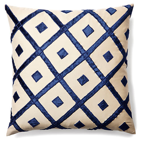 Diamond 20x20 Velvet Pillow, Indigo
