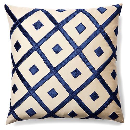 Diamond 20x20 Velvet Pillow, Indigo