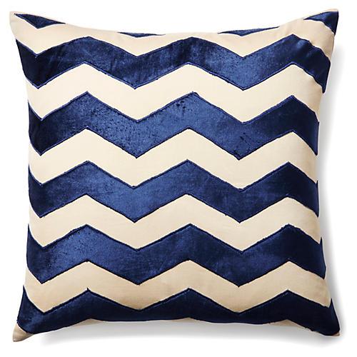 Chevron 20x20 Velvet Pillow, Indigo