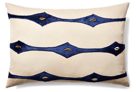 Connect 14x20 Velvet Pillow, Indigo