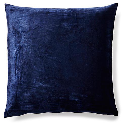 Solid 18x18 Velvet Pillow, Indigo