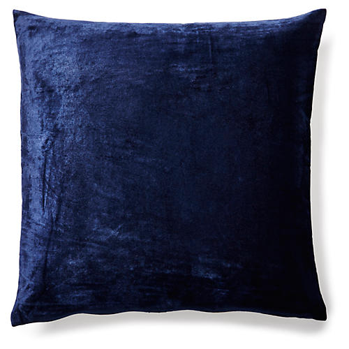 Solid 18x18 Velvet Pillow, Indigo