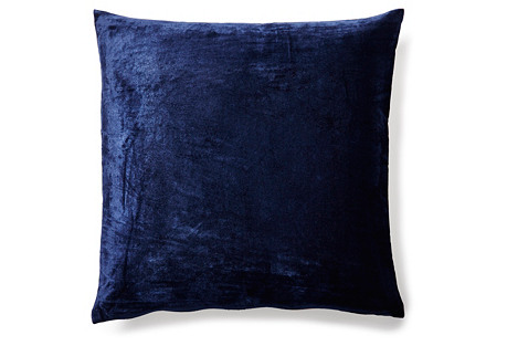 Solid 20x20 Velvet Pillow, Indigo