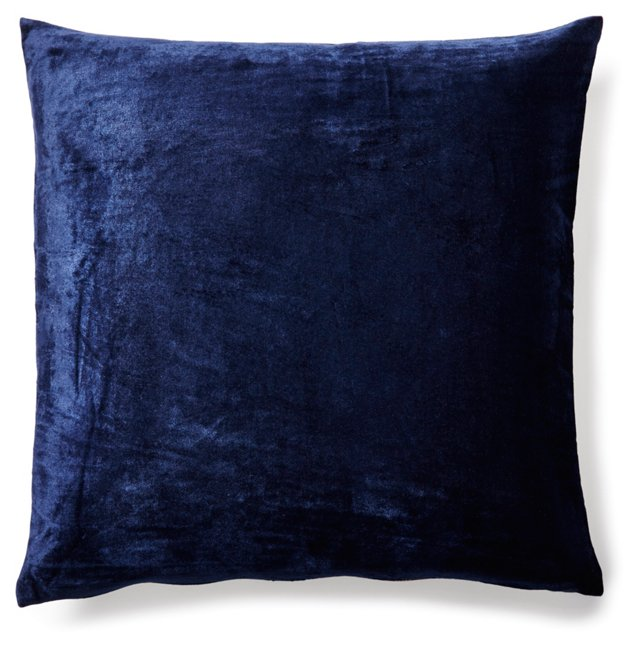 Solid 20x20 Velvet Pillow, Indigo