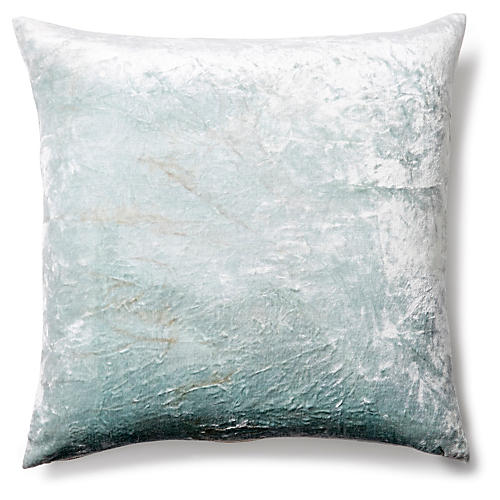 Solid 20x20 Velvet Pillow, Seafoam