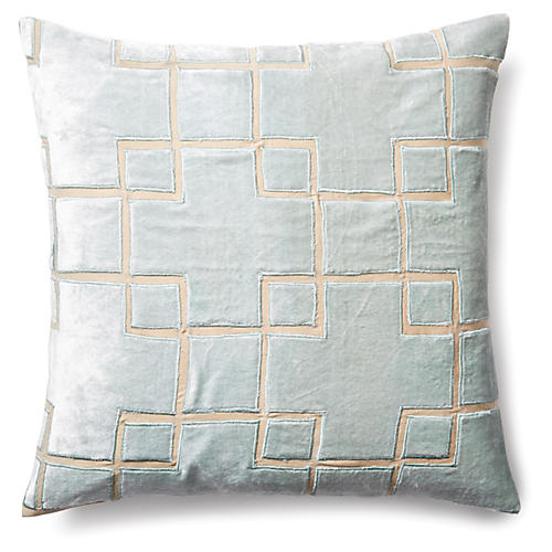 Block 20x20 Velvet Pillow, Seafoam