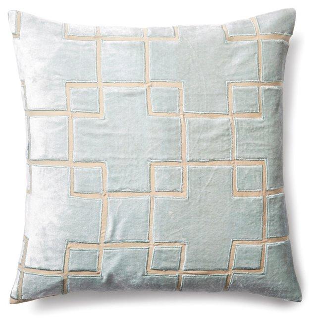 Block 20x20 Velvet Pillow, Seafoam