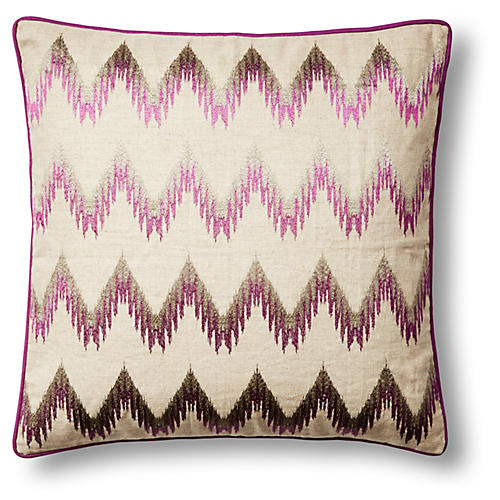 Chevron 20x20 Linen Pillow, Violet
