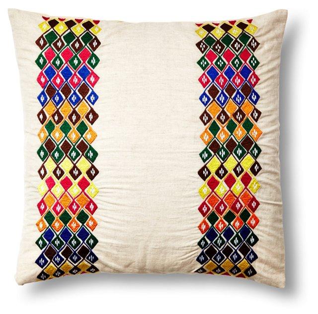 Gigi 20x20 Embroidered Pillow, Multi