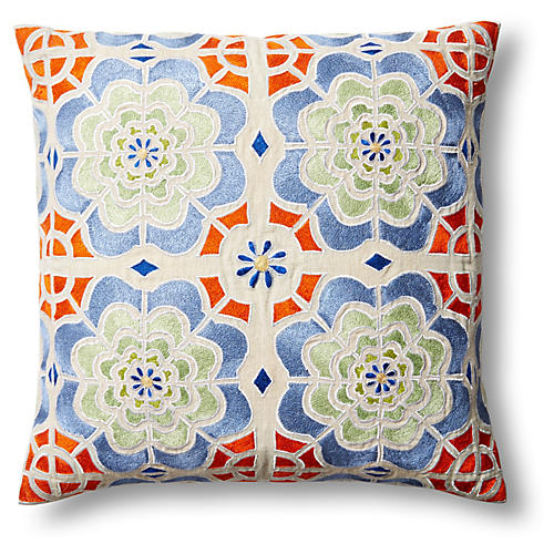 Julia 20x20 Embroidered Pillow, Multi