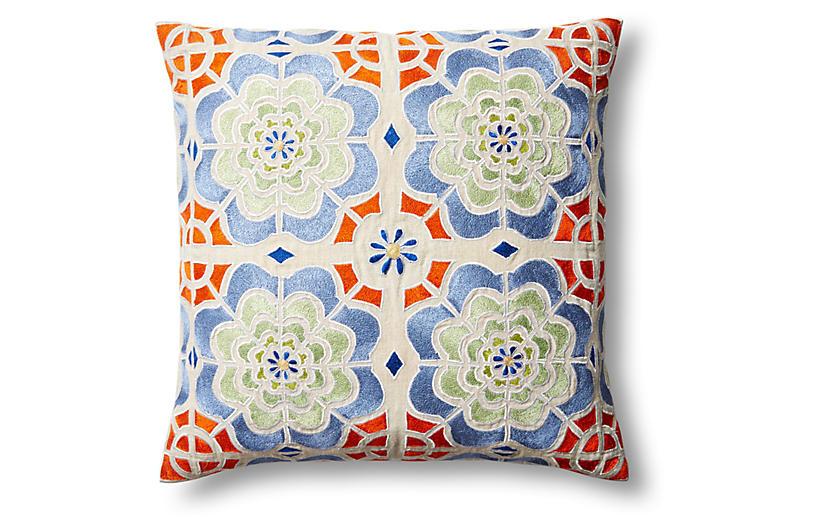 Julia 20x20 Embroidered Pillow, Multi