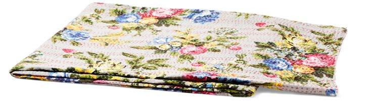 Floral Cotton Throw, Beige