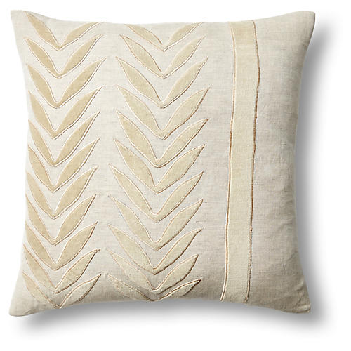 Feather 18x18 Linen Pillow, Natural
