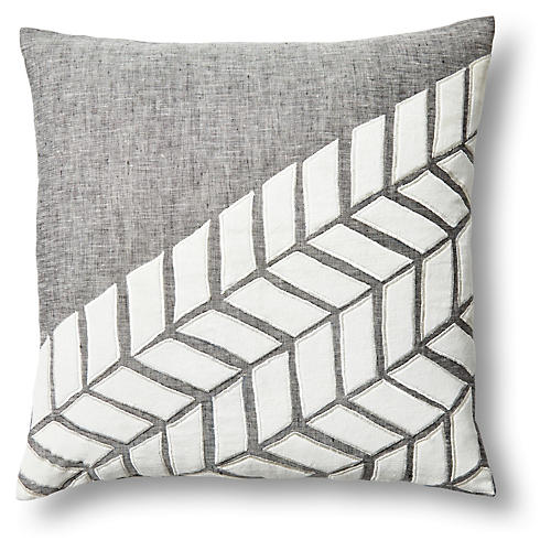 Arrow 18x18 Linen/Velvet Pillow, Gray