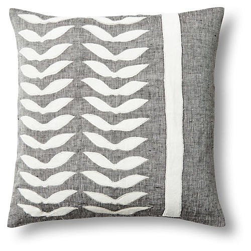 Feather 18x18 Linen/Velvet Pillow, Gray