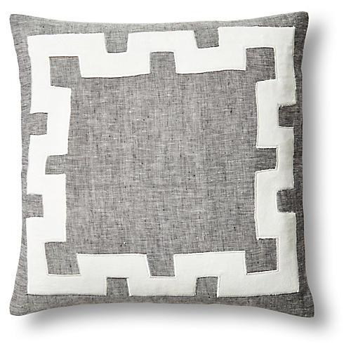 Applique 18x18 Linen/Velvet Pillow, Gray