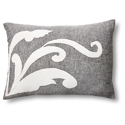 Leaf 14x20 Linen/Velvet Pillow, Gray